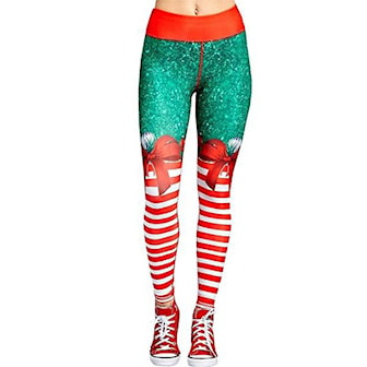 L, Women Christmas Printed Leggings, Tights med juleprint, ,