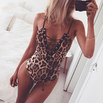 Leopard, M, Women Lace Up Bandage Jumpsuit, Snygg body, ,