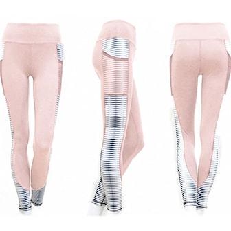 Rosa, M, High waist sports leggings with pocket, , ,