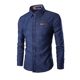 Blå, L, Men's Long Sleeve Denim Button Down Shirt, Denimskjorte, ,