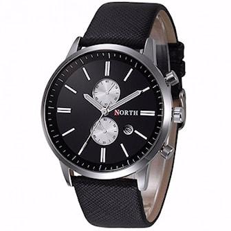 Svart, North Men Quartz Watch, Analog klocka med läderarmband, ,