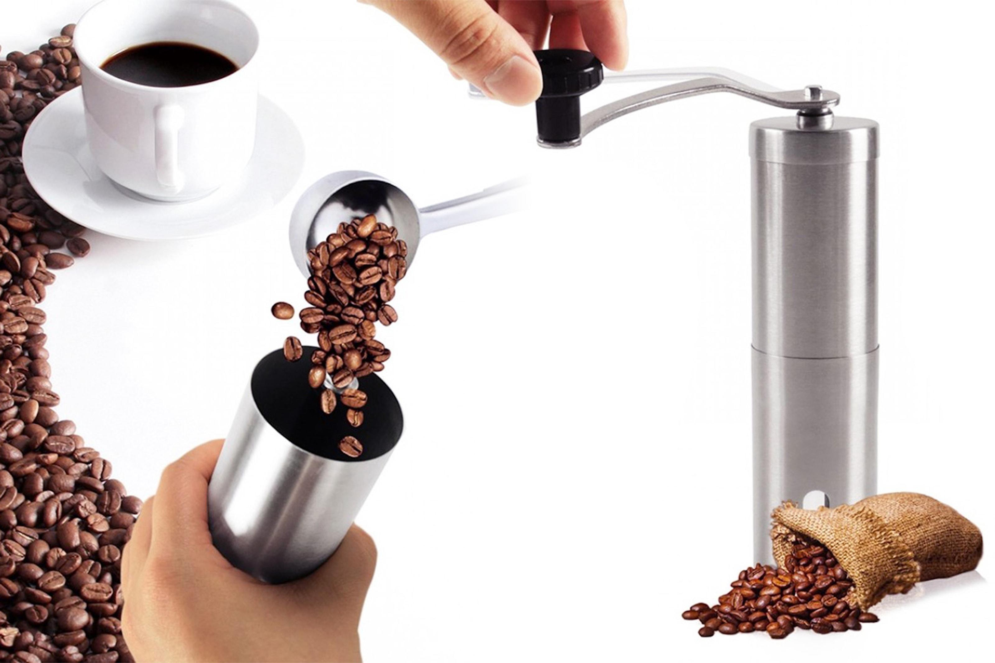 Manuell kaffekvarn i rostfritt stål