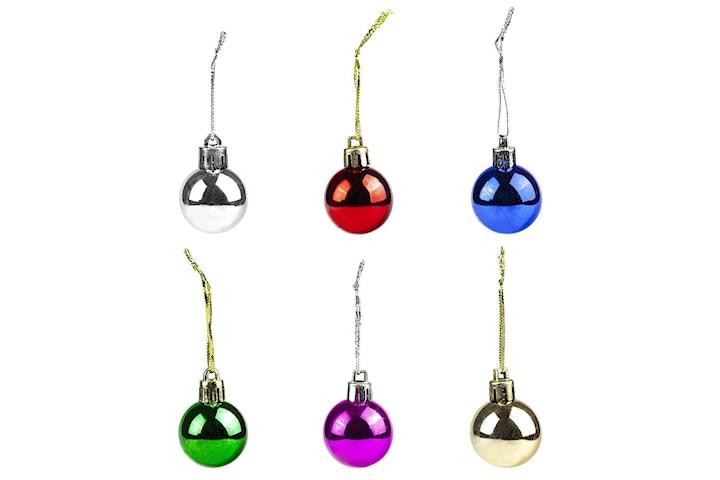 Små julgranskulor i olika färger, 12-pack