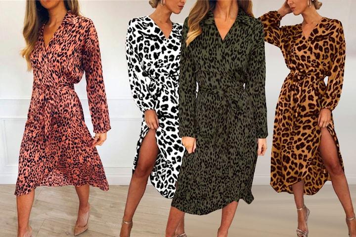 Wrap around-klänning med leopard-print