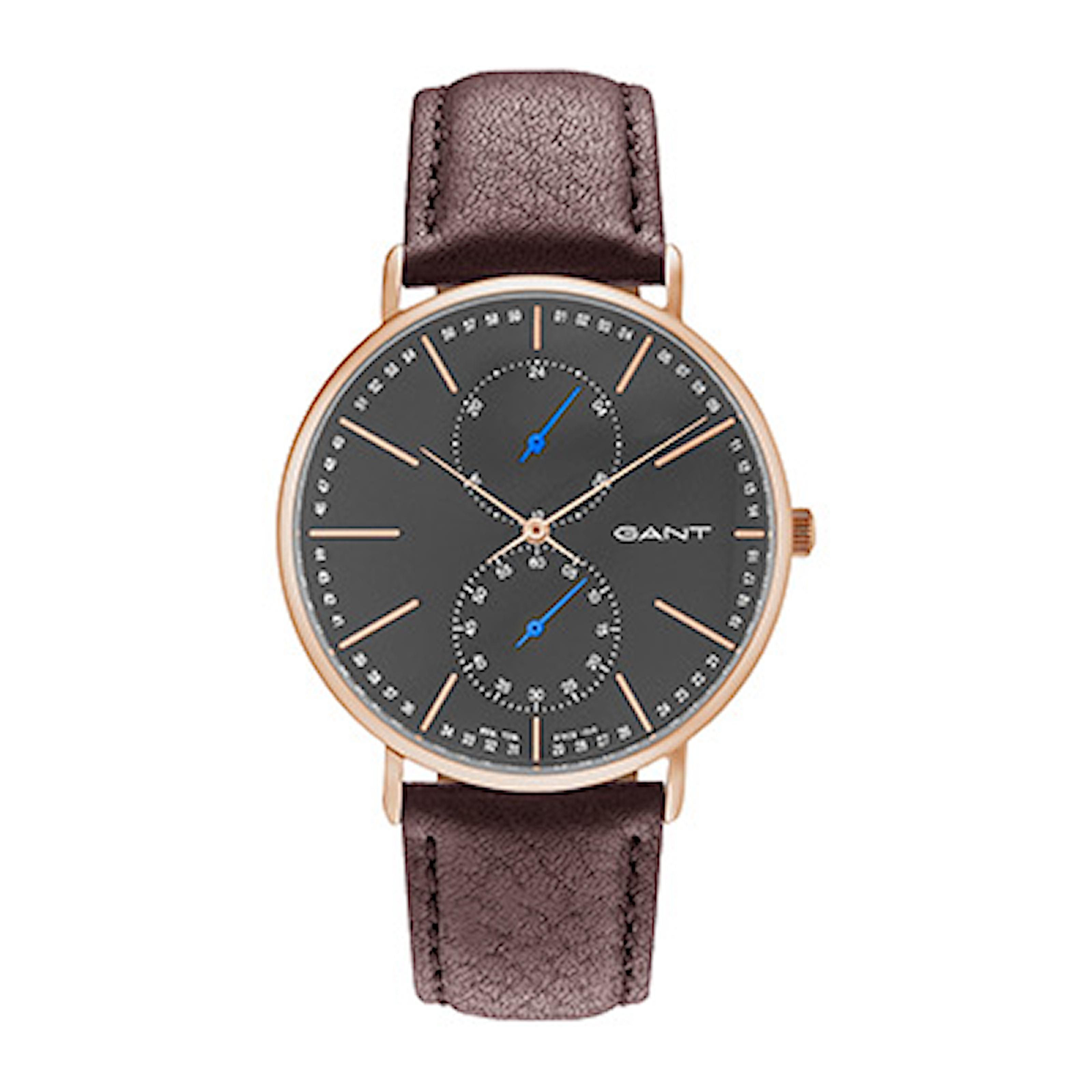 GT036005, GT036005, Armband: brun, läder. Urtavla: mörkgrå, rostfritt stål. Mått: 41 mm,