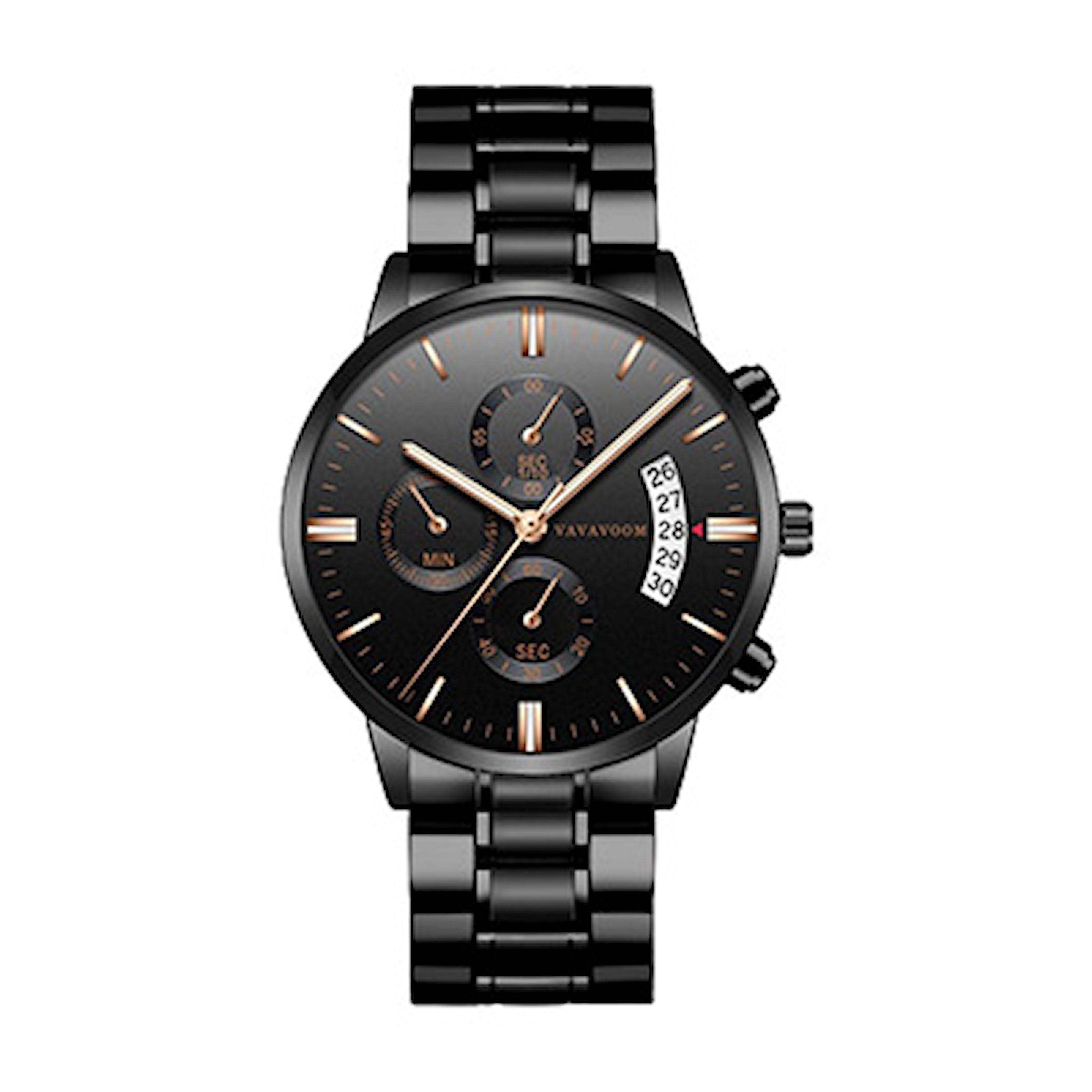 Svart/Roségull, Quartz Watch Stinless Steel, Quartz klokke til herre, ,