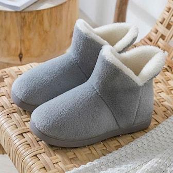 Grå, 44-45, Men, Indoor warm slipper boots, Varma innetofflor,