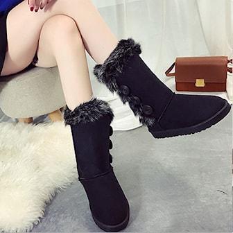 Svart, 40, Women's Fashion Button-Detail Furry Snow Boots, Vinterboots til dame, ,