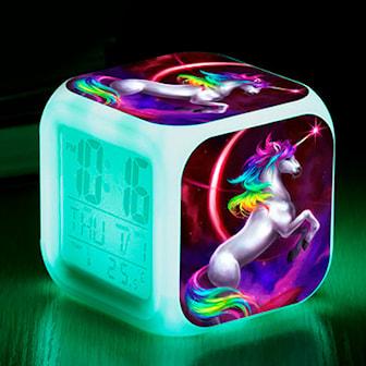 Model 4, Unicorn Alarm Clock LED Light Alarm, Vekkerklokke med enhjørningmotiv, ,