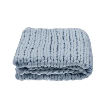 Mørkegrå, Chunky Knit Blanket, Chunky strikket teppe,