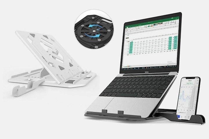 3-i-1 Roterende laptopstativ med mobilholder