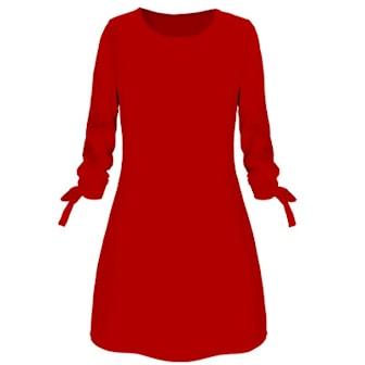 Röd, XXL, Round Neck Dress, Klänning med rund hals, ,