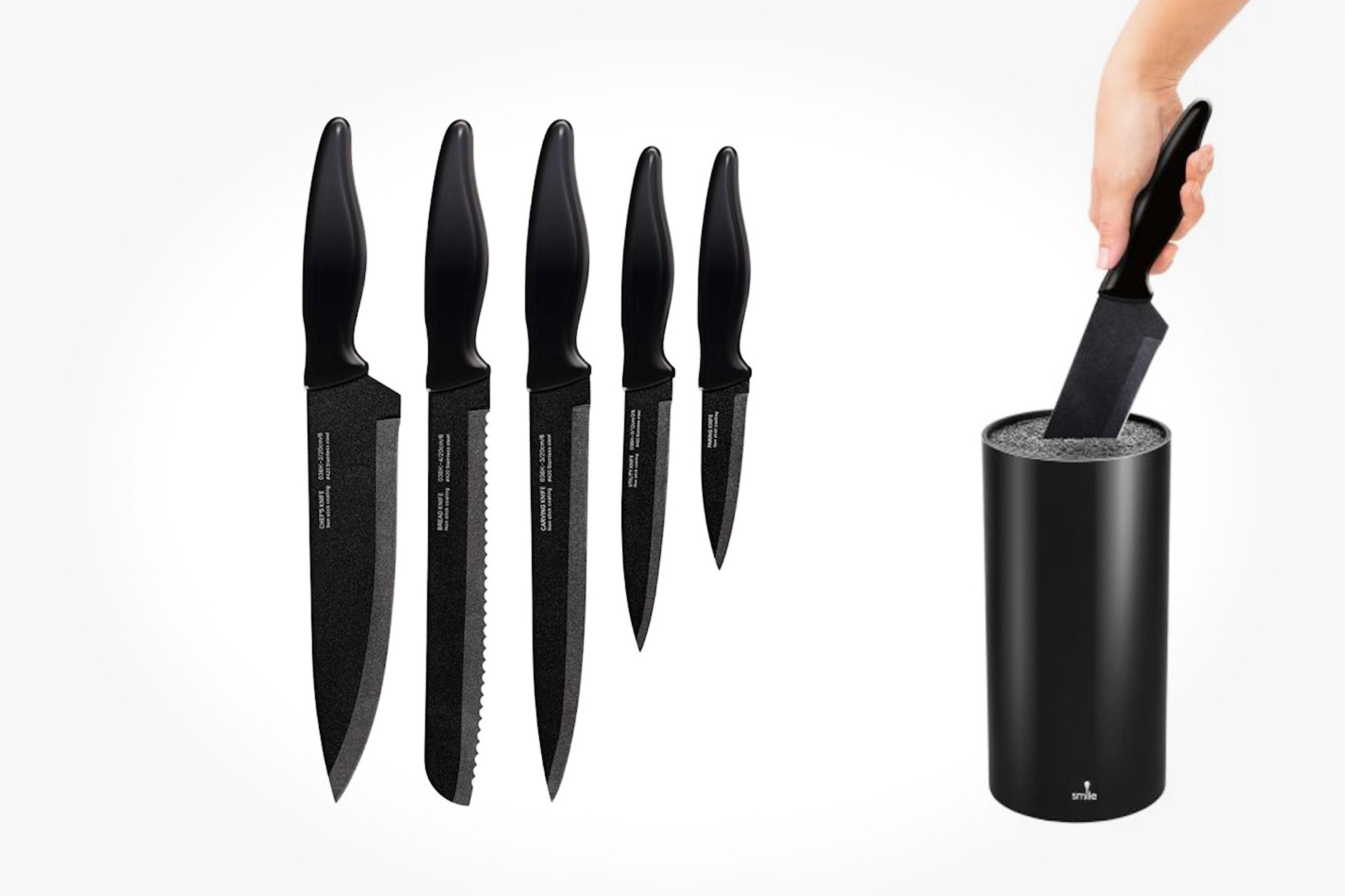 Knivblock med 5 st. knivar