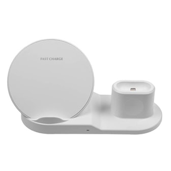 Vit, 3-in-1 Qi Wireless Charger Stand, 3-i-1 QI-laddare, ,