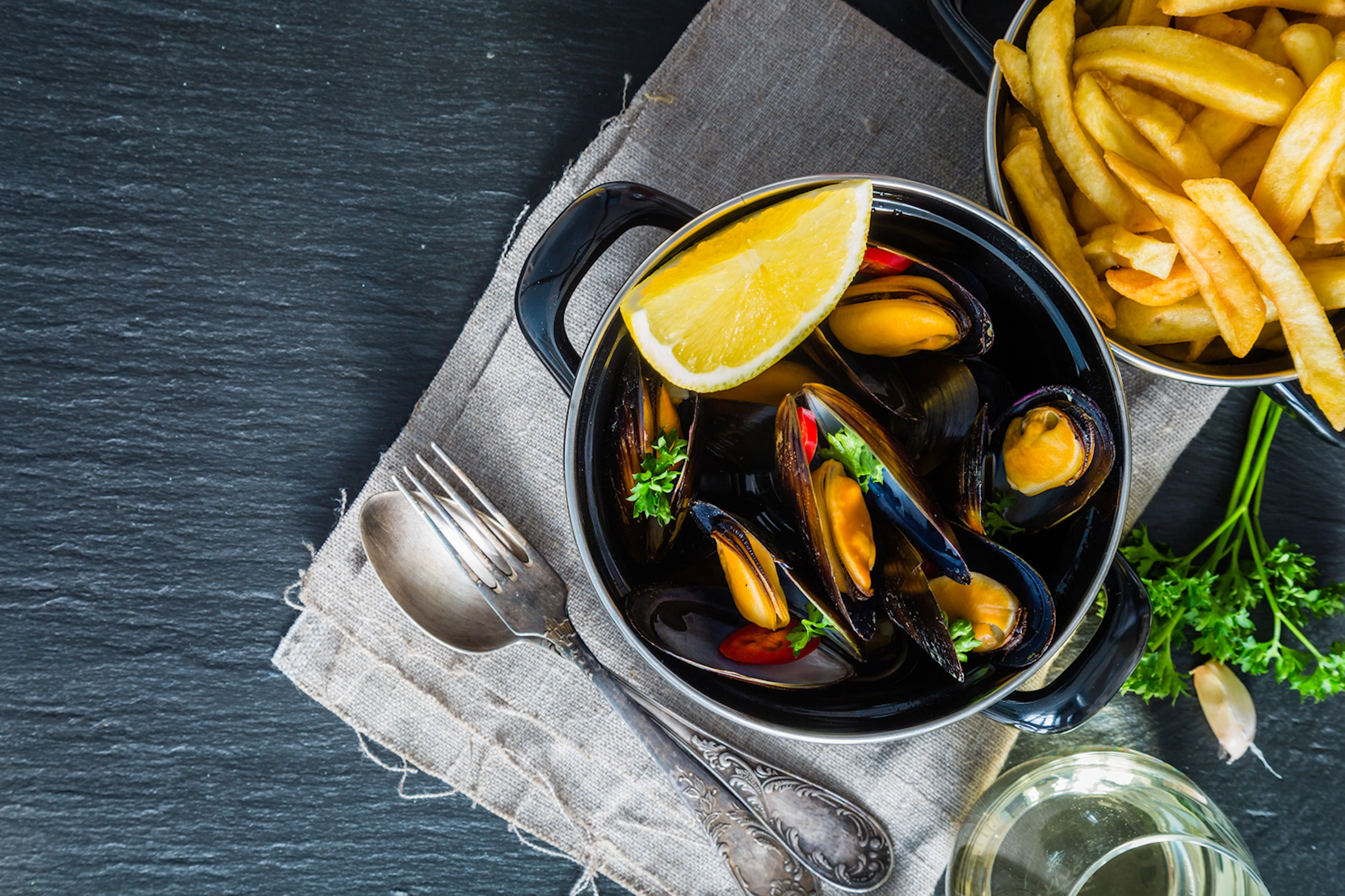 Moules frites inkl. dryck