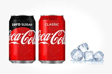 To brett med Coca Cola Classic eller Zero