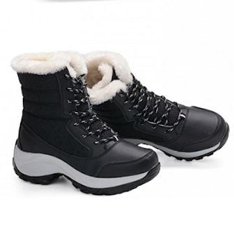 Svart, 37, Women's Winter Faux Fur Lined Snow Boots, 4 colors, Varmforet vinterstøvler til dame, ,