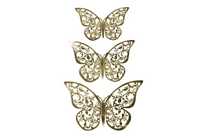 12st 3D Fjärilar i Metall, Väggdekoration - Guldblad