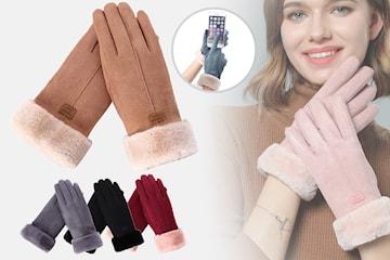 Touch screen-hansker i imitert semsket skinn