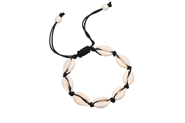 Justerbart Armband med vita snäckor - Svart