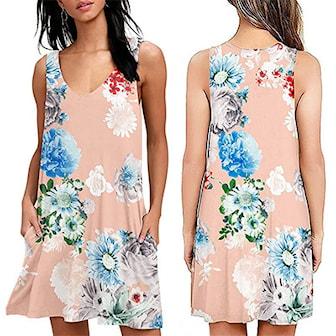 Rosa, XXL, Flower Dress With Pockets, Blomstrete kjole med lommer, ,