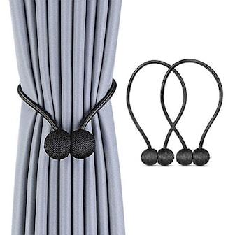 Svart, 2 Pack Magnetic Ball Curtain Tiebacks, Magnetisk gardinbånd 2-pack, ,
