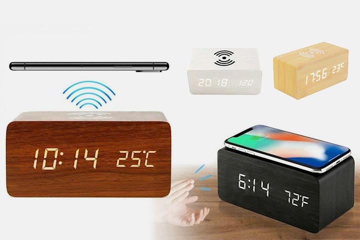 Digital alarmklokke med trådløs mobillader