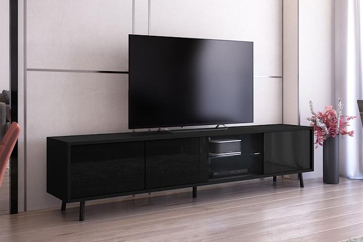 Tv-bänk med fack och hyllor