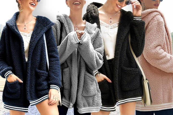 Cardigan i teddy-fleece och luva