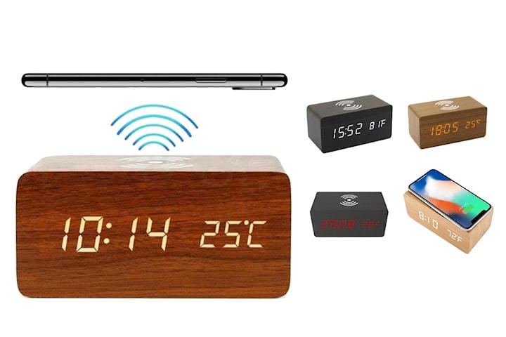 Digital alarmklocka med trådlös mobilladdare