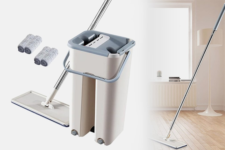 Mopp med to vaskekluter og vaskebøtte