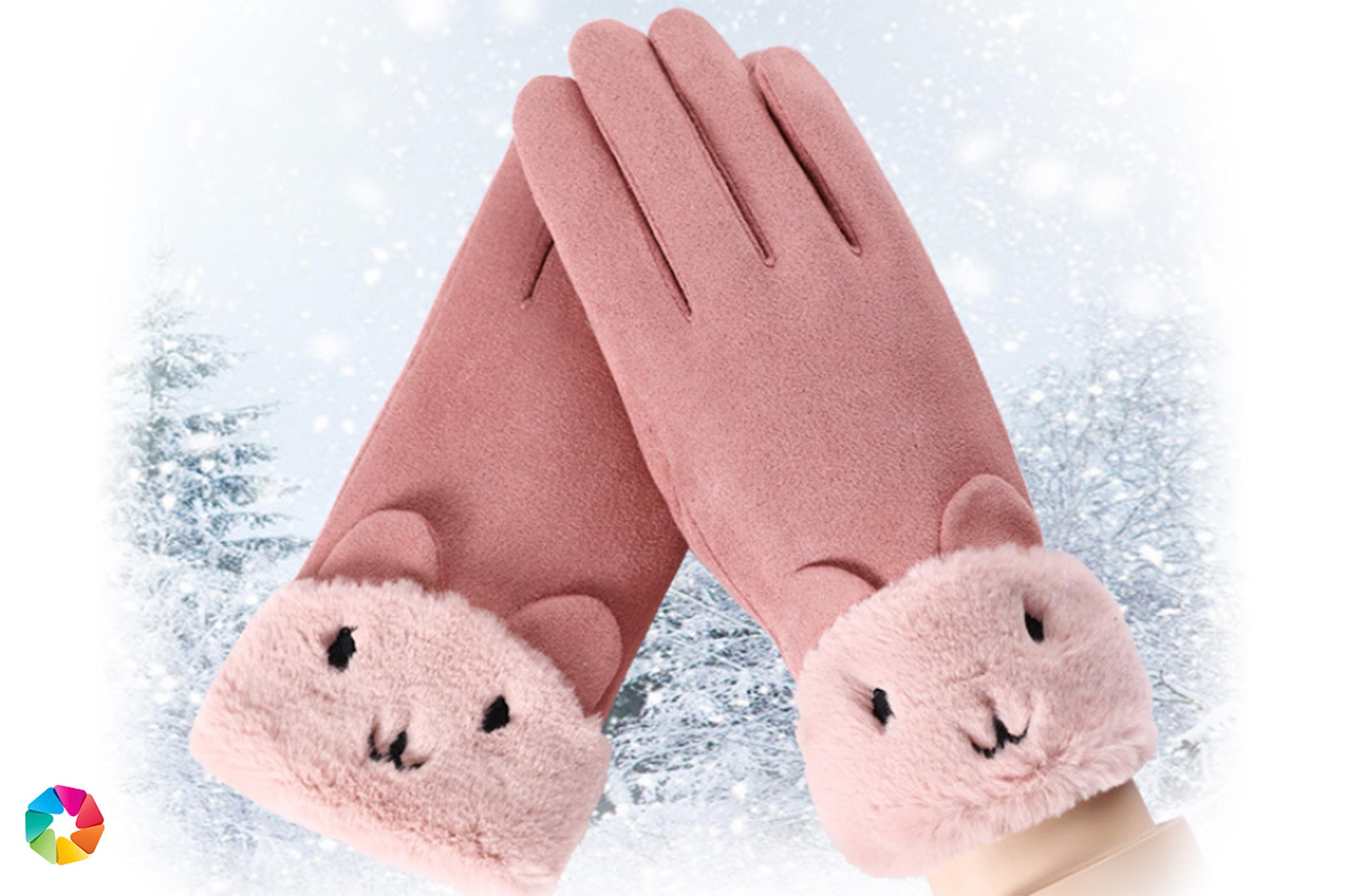 Tjocka touch-handskar i mocka