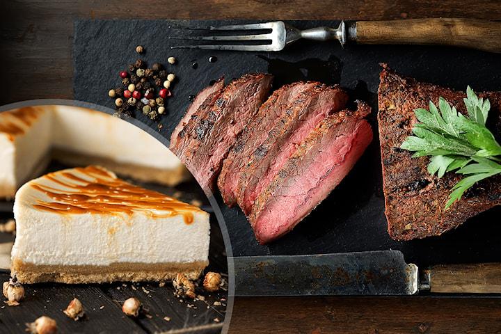 Entrecôte av kalv og hjemmelaget ostekake, kun 249,5 kr per person