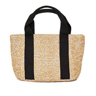 Svart, Beach Bag Straw, Strandväska, ,