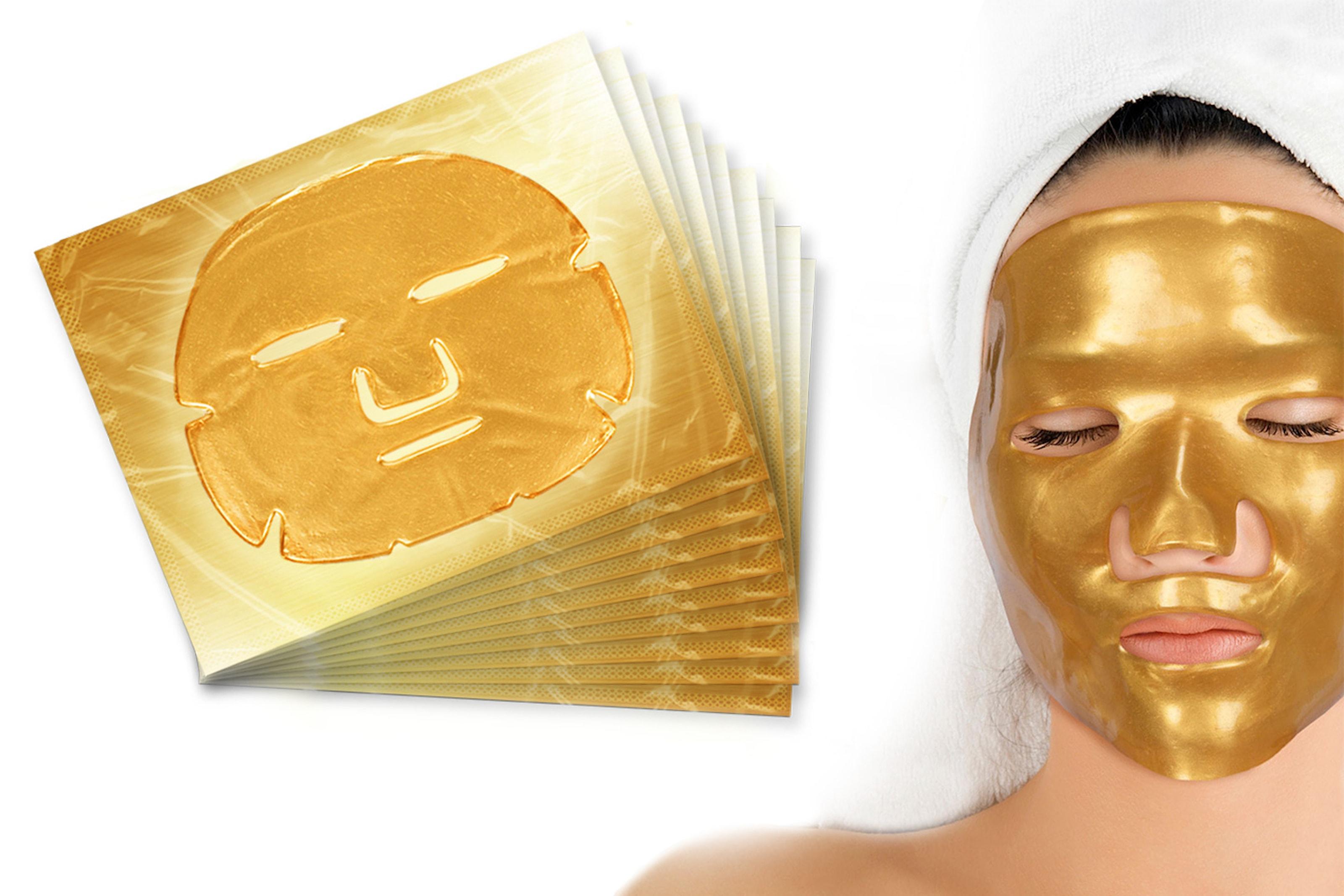 10- eller 20-pack Gold Collagen gelmasker til ansiktet