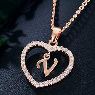 V, Necklace Letters Crystal Women Gift, Halsband med unik bokstav, ,