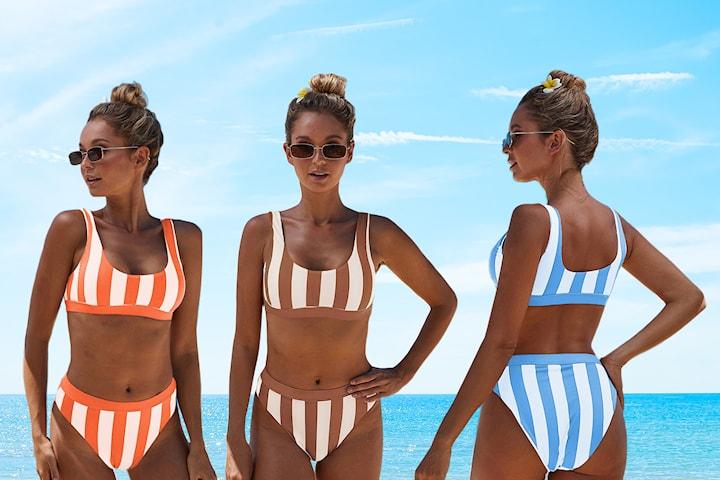 Bikini i randigt mönster