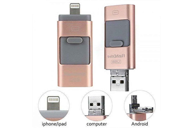 3-i-1 flashdrive med  16, 32 eller 64 GB lagring