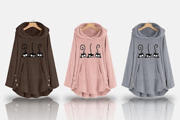 Oversize genser med kattemotiv