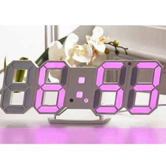 Lila, LED Digital Wall Brightness Hanging Clock, LED-lampa för digital klocka, ,