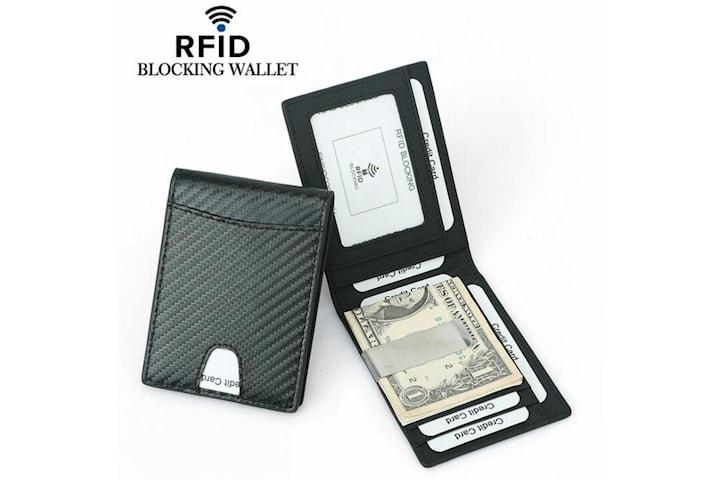 RFID carbon plånbok i äkta läder med pengaklipp