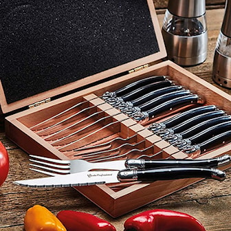 Svart, Cooks Professional, 12-piece steak cutlery, Biffbestikk i 12 deler, ,