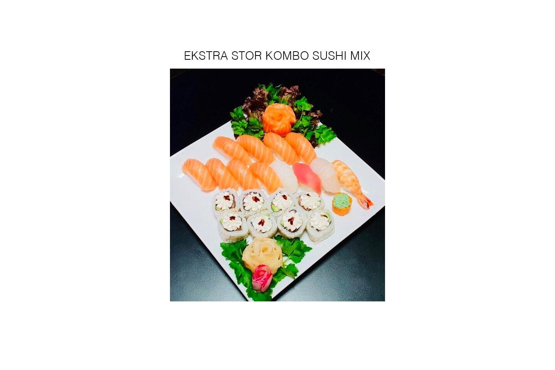 Sushi takeaway: 25 biter eller 58 biter til hele familien!