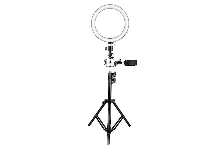 Selfie-lampa/Ring light (26 cm), stativ och fästen