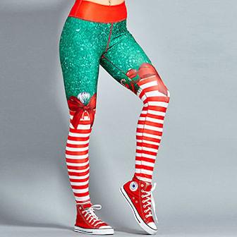 M, 1, Christmas tights, Treningstights med julemønster,