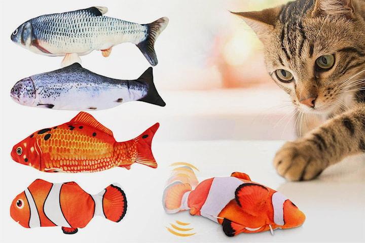 Sprattlande fiskleksak inkl. kattmynta