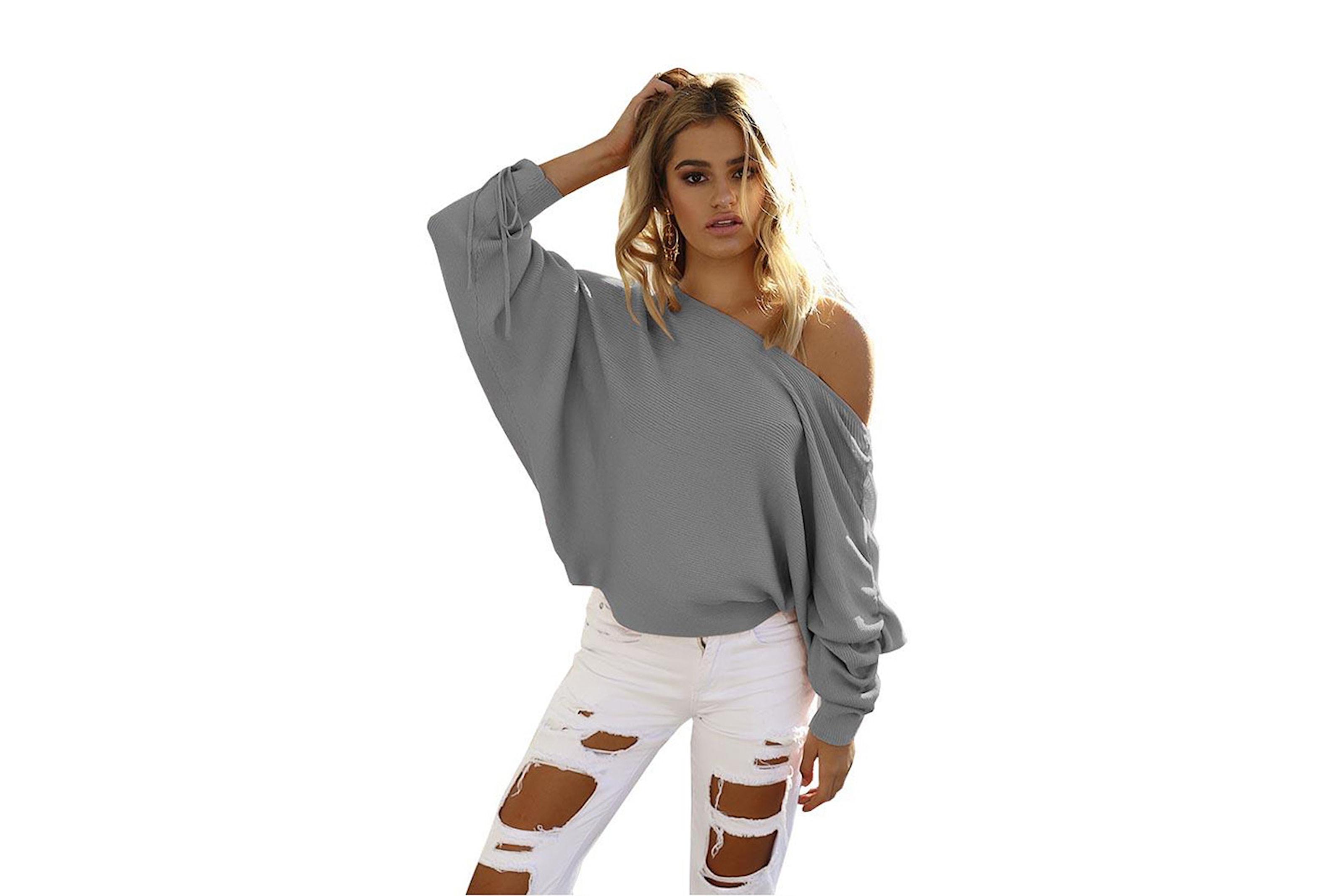 Fasjonable Off Shoulder strikket genser   Letsdeal.no CZ-21