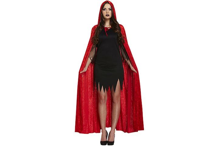 Mantel i Sammet med Huva - Röd