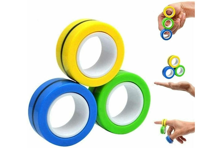 Magnetiske ringer 3-pakke - Anti-stress, blandede farger