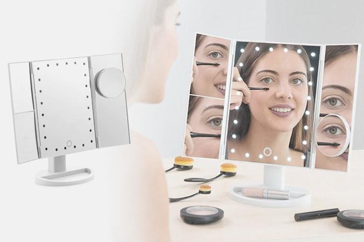 4-i-1 LED-spegel med förstoring